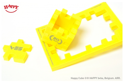 Happy Cube 4 cm cube, 1 colour print, to celebrate the 20 year company existence.