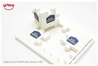 Happy Cube 4 cm, full colour print. A great give-away for hotel clients.