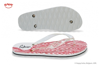 This is a white foam flip flop with digital screen print. The sole consists of 3 layers incl. a thin layer and a relief bottom.