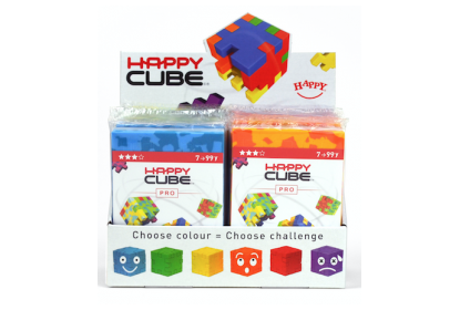 Display with 24 x Happy Cube Pro puzzles
