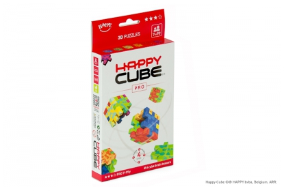 Happy Cube Pro 6-pack, 6 foam cube puzzles included, flat packed.