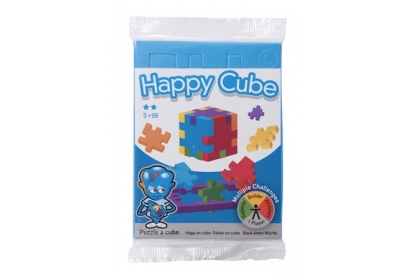 Happy Cube Single Pack - a flowpacked flat blue foam puzzle cube.