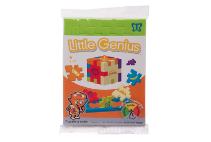 Little Genius Single Pack - a flowpacked flat green foam puzzle cube (with animal symbols).