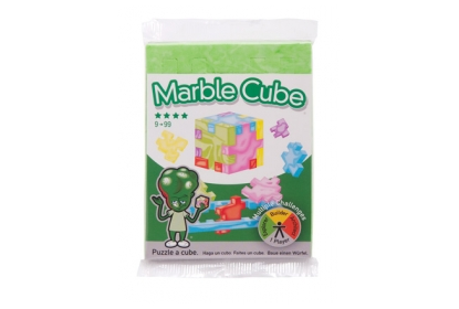 Marble Cube Single Pack - a flowpacked flat foam green puzzle cube.