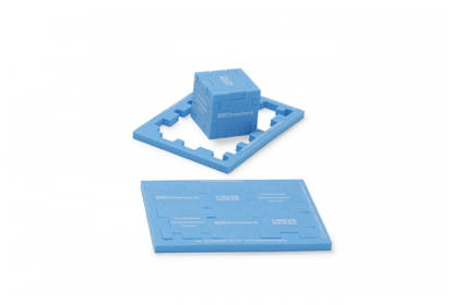 Standard blue foam Planet Cube with white screen print.