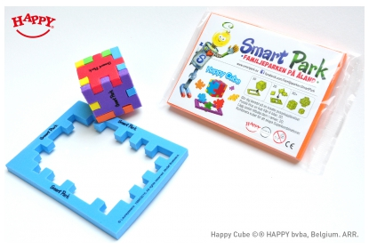 Happy Cube 4 cm multi colour cube with custom card, for retail or give away in family fun parks.